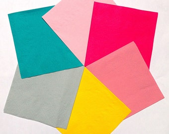 Colorful Party Napkins | 50 Cocktail Wedding, Birthday Party Napkin | MIX or MATCH | Bright Teal, Hot, Dusty or Baby Pink, Gray, Yellow