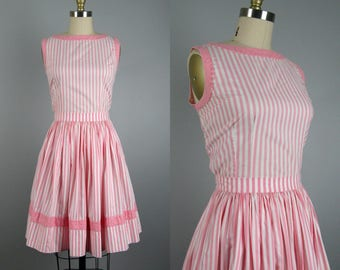 Vintage 1950s Cotton Dress 50s Pink and White Cotton Full Skirt 2 Piece Dress Size S/Petite