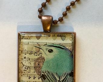 Resin Pendant with Blue Bird