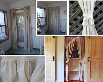Natural Cotton Curtain Farmhouse Window Treatment Cotton Drapery Panel Rustic Cotton Drapes French Country Custom Made to Order