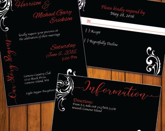 Traditional Wedding Invitation / Black and White Wedding Suite / Red and Black / Inviation Suite / Traditional / Wedding / Anniversary