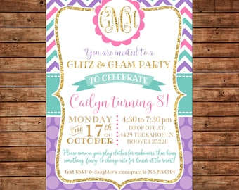 Girl Invitation Glitz Glamour Monogram Gold Birthday Party - Can personalize colors /wording - Printable File or Printed Cards