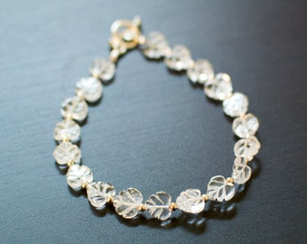 Leaf Quartz Bracelet - Handcut Beads, Leaf  Jewelry, White Quartz, Silver Jewelry, Delicate Bracelet, Hand Crafted, Wedding Jewelry