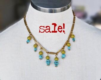 Vintage Art Deco Skull Necklace--Repurposed Vintage Chain--Skulls--Alternative Jewelry--Dia De Los Muertos--Trending--Turquoise--Handmade