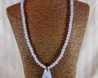 """Sky blue lace agate necklace 18"""" long irregular druzy pendant lilac purple semiprecious stone jewelry packaged in a colorful gift bag 11276"""