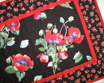Poppy Table Runner, floral, table runner quilted, handmade, red. black, green, quilted table runner