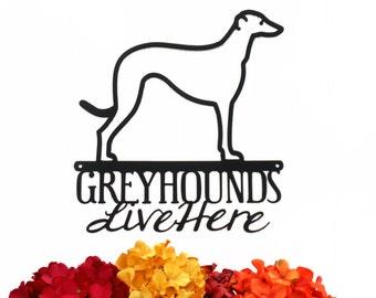 Greyhounds Live Here Metal Sign - Black, 11.25x12, Greyhound, Hound, Dog Sign, Metal Wall Art, Wall Decor, Signs