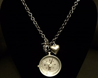 Vintage Steampunk Compass Necklace
