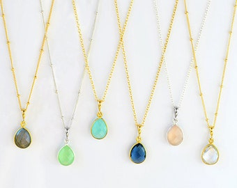 Minimalist Gemstone Pendant, Birthstone Pendant Necklace, Gold Necklace, Layered necklace, Bridesmaid Necklace, Teardrop Pendant bridesmaid