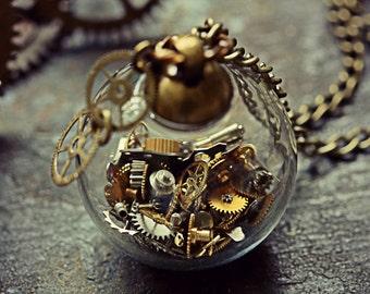 Steampunk Necklace Watch Part Pendant Steam Punk Jewelry Glass Orb Miniature Cogs Terrarium Gears Globe Sphere Cyberpunk Clock Found Object