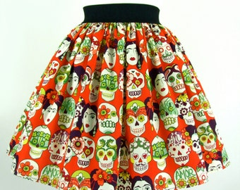 Frida Day of the Dead Skulls Skirt