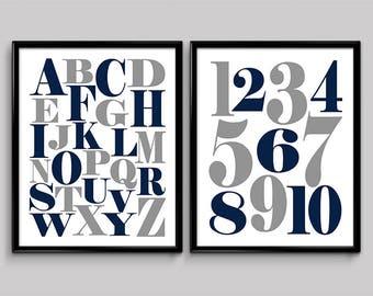 Printable alphabet nursery art Alphabet poster Alphabet print Nursery wall art Navy and gray Nursery decor Alphabet and numbers Alphabet art