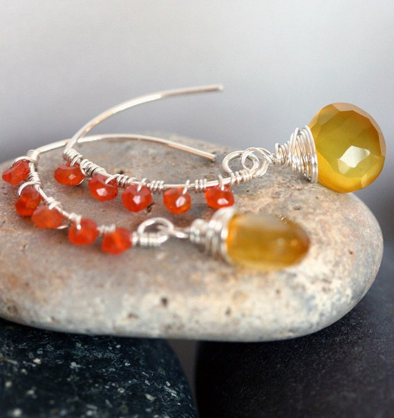Yellow Earrings - Chalcedony Earrings - Yellow and Orange Earrings - Summer Jewelry