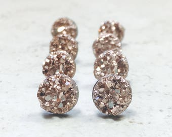 Set of 6 Bridesmaid Earrings Gifts Set, Tiny Rose Gold Faux Druzy Earrings, Small  8mm Round Studs