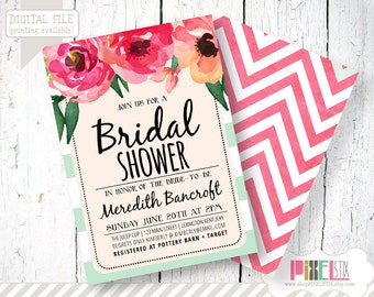 Trendy Watercolor Floral Bridal Shower Invitation - CUSTOMIZABLE PRINTABLE INVITATION - Mint and Blush Pink with Bold Stripes and Flowers