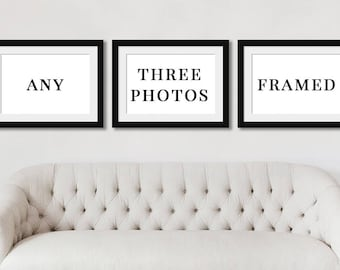 Framed Art Prints, Select any 3 Prints to Frame, Custom Wall Art Framing, Rustic Framed Pictures, Framed Prints, Custom Framing Set.