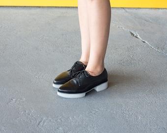Oxford Shoes, Black Leather Shoes, Unique Shoes, Platform Oxfords, Black Oxfords with White/Gray Platform Heels