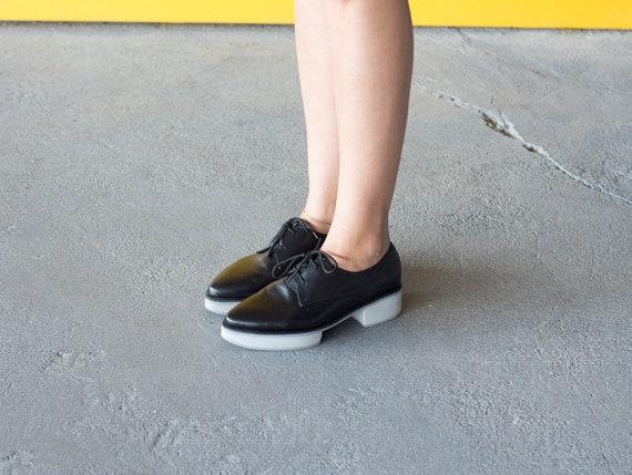 Shoes Leather Oxford Shoes Shoes Black Oxford Platform White Shoes Black Women Shoes Shoes Shoes Black Leather Shoes Tie Handmade qwtIgxX