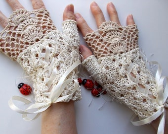 Crocheted Cotton Gloves L Ready To Ship Victorian Fingerless Summer Women Wedding Lace Evening Knitted Bridal Party Ivory Corset Opera B89