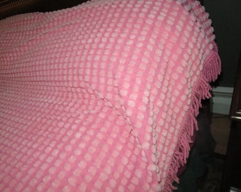 Fluffy Jumbo Cotton Candy Puffs on Rosy Pink Vintage Chenille Bedspread with Twisted Fringe Tagged Vantona