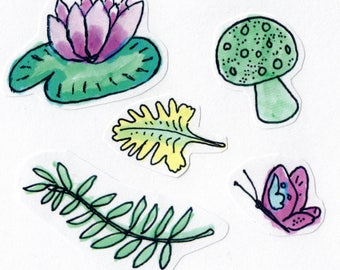 "Cute, Aesthetic, Handmade Illustrated Sticker Sheet! ""Nature Walk""."