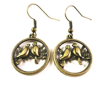Bronze Bird Charm Earrings, Lovebird Earrings, Antique Brass Metal Earrings, Dangle Earrings, Drop Earrings, Hoop Earrings, Women's Jewelry