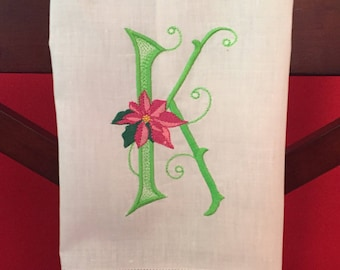Monogrammed Christmas Guest/Powder Room Linen Towel
