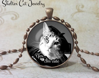 "I'm Cute Cat with Beret Pendant 1-1/4"" Round Pendant Necklace or Key Ring - Handmade Wearable Shelter Cats Photo Art Jewelry"