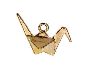 PB227 - Set of 1 3D 27mm x 20mm gold Origami crane charm