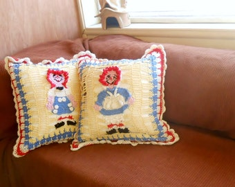 Crochet cushion Pattern, Raggedy Ann and Raggedy Andy pillow instructions, decorative cushion diy, crochet pillow pdf, nursery decor diy,