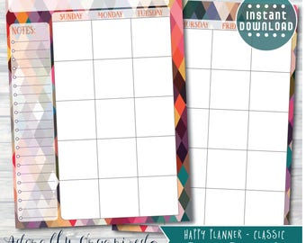 HAPPY PLANNER PRINTABLE Monthly Planner Refills / Inserts - 7 x 9.25 | Geo Brights | Create 365 | Me & My Big Ideas | mambi | Undated