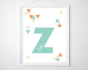 Custom Kids Name Art - Children's Alphabet Triangles Modern Typographic Print