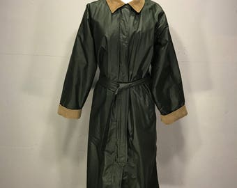 Woolrich Womans Trench Coat Faux Oil Cloth All Weather Rain Coat 80s  Belted Trench