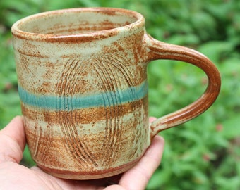 WheelThrown Textured Mug - Warm Tan Glaze with a Band of Blue  - Wheel Thrown Pottery - Rustic Mug - Ceramic Cup - Handmade Ceramics