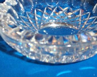 Vintage Heavy Crystal Thumbprint and Diamond Basket ashtray clear crystal glass