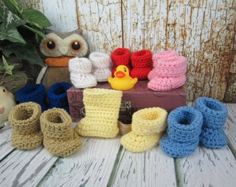 """Baby doll shoes, Crochet Baby doll booties, 18"""" doll shoes, 15"""" doll shoes, doll boots, Pick your color, boy doll shoes, girl doll shoes"""