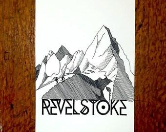 Revelstoke Hiking the Mountains - Original Pen and Ink Illustration - Custom design of BC nature art