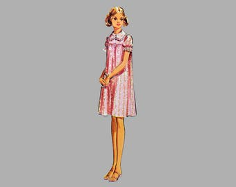1971 Nightgown pattern McCalls 3035 Baby Doll pajama pattern Winter nightgown Short / Long Nightgown High yoke, Bust 38 - 40, Complete
