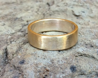 6mm Gold Brass Wedding Band - Raw Brushed Brass Men's or Women's Wedding Ring - Thick Chunky Alternative Unisex Jewelry 7th Anniversary Gift