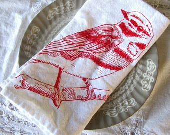 Cloth Napkins - Screen Printed Cotton Cloth Napkins - Eco Friendly Dinner Napkins - Reusable - Handmade Cotton Napkins - Bird Napkins