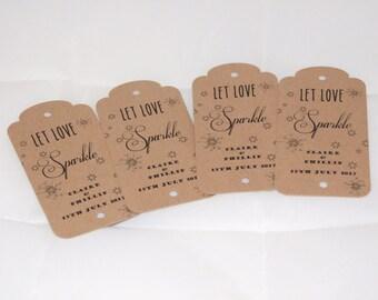 "Recycled Brown Kraft, ""Let Love Sparkle"" Personalised Wedding Sparkler Luggage Tags"