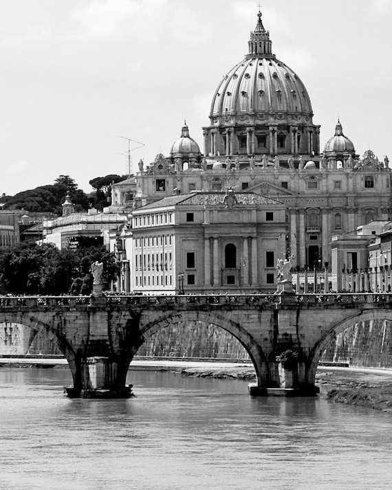 Rome italy photography st peters cathedral photo black and