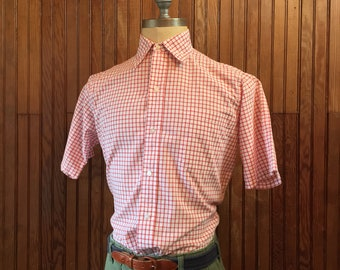 60s Brooks Brothers 15 1/2 SS Medium Gingham Checkered Short Sleeve Shirt Men's Made In USA Vintage