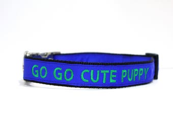 Custom Personalized Embroidered Metal Buckle Blue Dog Collar