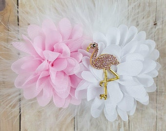 Flamingo clip, feather clip, pink and white clip