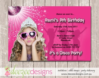 Disco Dance Birthday Invitation with Photo - YOU PRINT - BD061G
