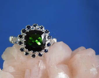 2.85 Ct. Round Moldavite and Sapphire Floral Halo Sterling Silver Ring