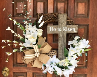 HE IS RISEN Spring Wreath