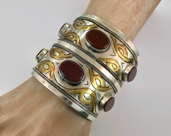 Carnelian Cuff, Boho Cuff, Kuchi, Vintage Bracelet, Gold Wash, Silver, Wide Bracelet, Big Statement, Turkmen, Gypsy Ethnic, Afghan, #2