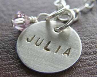 """Personalized Charm Necklace - Custom Sterling Silver Hand Stamped Jewelry - 1/2"""" Charm with Optional Birthstone or Pearl"""